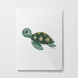 Cute Aquamarine Sea Turtle Metal Print
