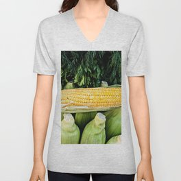 Yellow Corn Over Green Cobs Unisex V-Neck