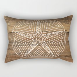 rustic brown beach wood tropical tribal tattoo starfish sand dollar Rectangular Pillow