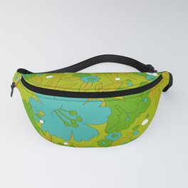 Green, Turquoise, and White Retro Flower Design Pattern Fanny Pack