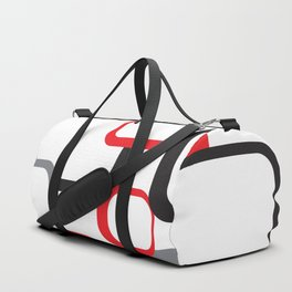 Red Black Gray Retro Square Pattern White Duffle Bag