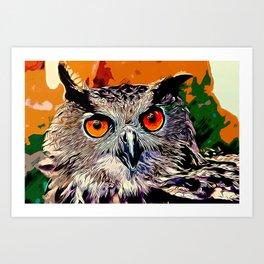 owl strix bird v2 vector art Art Print