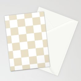 Large Checkered - White and Pearl Brown Stationery Cards