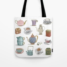 Vintage Teacups and Teapots white background Tote Bag