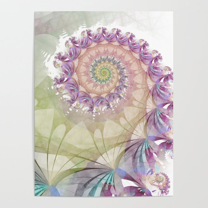 Watercolor Fibonacci Spiral Poster