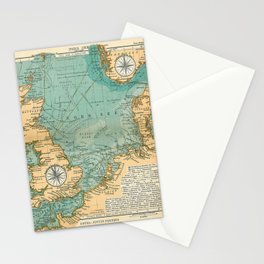 Vintage North Sea Viking & Norse Routes Map (1906) Stationery Cards