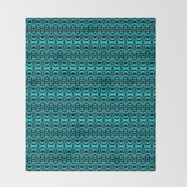 Abstract Pattern Dividers 07 in Turquoise Black Throw Blanket