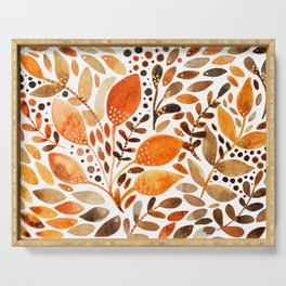 Autumn watercolor leaves Serving Tray