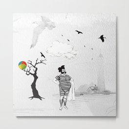 A Beached Ball and a Bearded Hipster Bathing. Metal Print