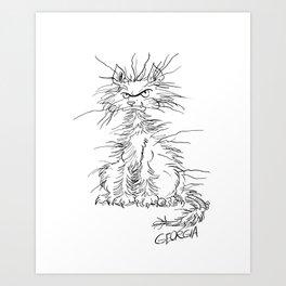 Disgruntled Cat Art Print
