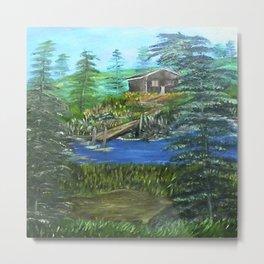 Cabin Hideaway Oil on Canvas Metal Print