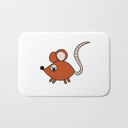 Friendly little mouse drawing for children and adults Bath Mat