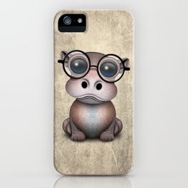 Cute Nerdy Baby Hippo Wearing Glasses iPhone Case
