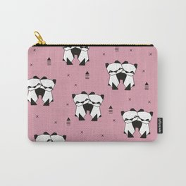Hugging panda bears sweet geometric illustration print pink Carry-All Pouch