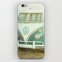 vw bus iPhone & iPod Skins featuring Vintage VW Beach Bus by Lauri Andrews