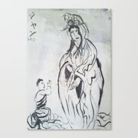 budi satria kwan Canvas Prints featuring KWAN YIN by JANUARY FROST