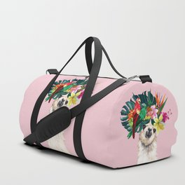 Aloha Hawaii Llama in Pink Duffle Bag
