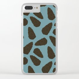 Tree Patterns: Teal Pinecones Clear iPhone Case