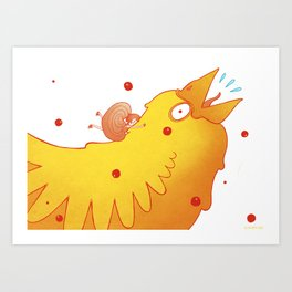 not seeing where she was going, she tripped on to a bird Art Print