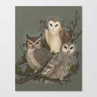 owls Canvas Prints featuring Owls by Jessica Roux
