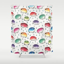 Round Rain Frogs Shower Curtain