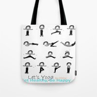yoga Tote Bags featuring yoga by Indraart