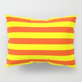 Super Bright Neon Orange and Yellow Horizontal Beach Hut Stripes Pillow Sham