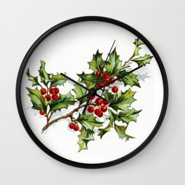 Holly Berries 20171001 by JAMFoto Wall Clock