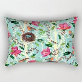 Birds and Blooms Rectangular Pillow