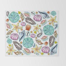 Illustrated Seashell Pattern Throw Blanket