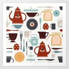 Tea and coffee serving set Art Print