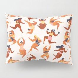 Body Positive. Women in summer swimsuits Pillow Sham
