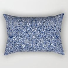Detailed Floral Pattern in White on Navy Rectangular Pillow