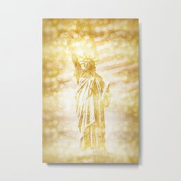 NEW YORK CITY Statue of Liberty with American Banner | golden painting Metal Print