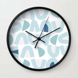 Bowy Blue Pattern Wall Clock