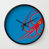squid Wall Clocks featuring Squid by Mark Walker