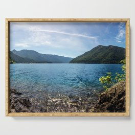 Lake Crescent Olympic Mountain Pano Serving Tray