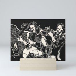Bop Quintet Jazz Musician Black and White Block Print Mini Art Print