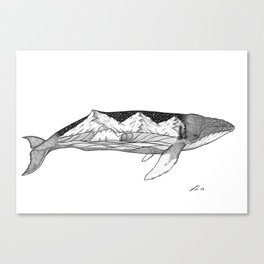 Humpback whale wave action Canvas Print