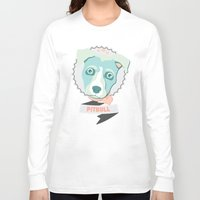 pitbull Long Sleeve T-shirts featuring Pastel Pitbull by Minette Wasserman