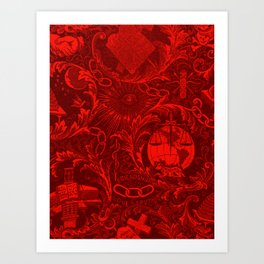 Red IOOF Woven Symbolism Tapestry Art Print