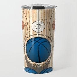 Colorful Blue basketballs on a Basketball Court Travel Mug