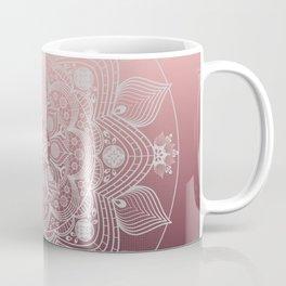 White Lace Flowers and Leaves Boho Floral Mandala on Dusty Rose Pink Coffee Mug