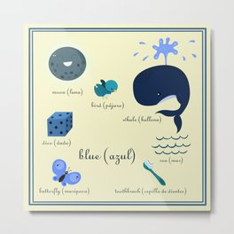 Colors: blue (Los colores: azul) Metal Print