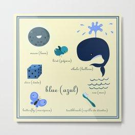 Colors: blue (Los colores: azul) Metal Print