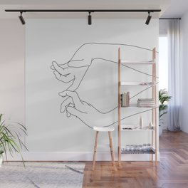Hands line drawing - Robin Wall Mural