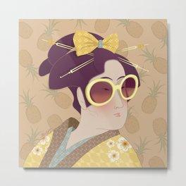 Geisha Ananas Metal Print