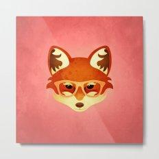 Hipster Fox: Rose Metal Print