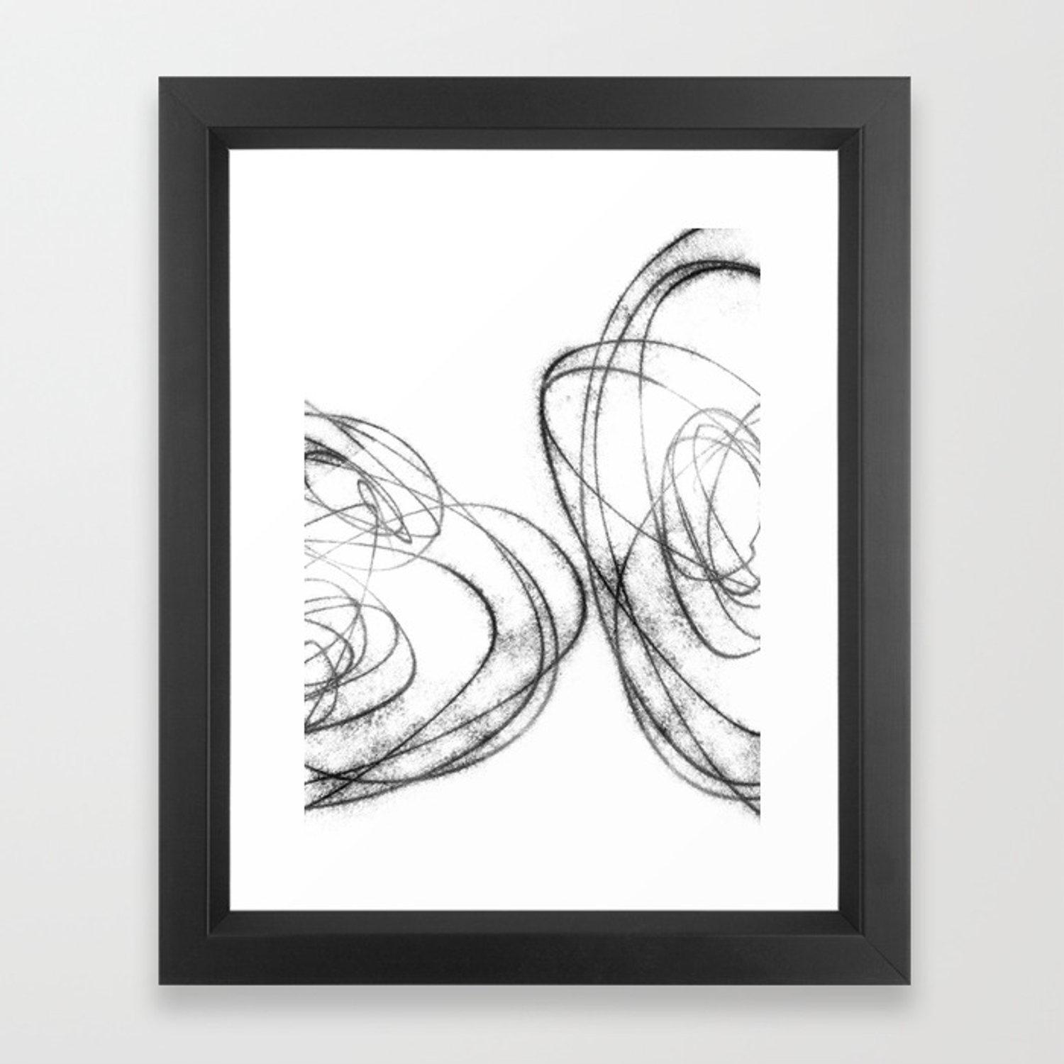 Minimalist abstract line drawing in black and white framed art print