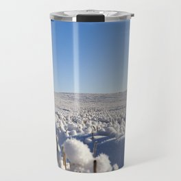 Snow covered field Travel Mug